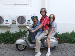 Anna, Dad, and Sam on the Vespa